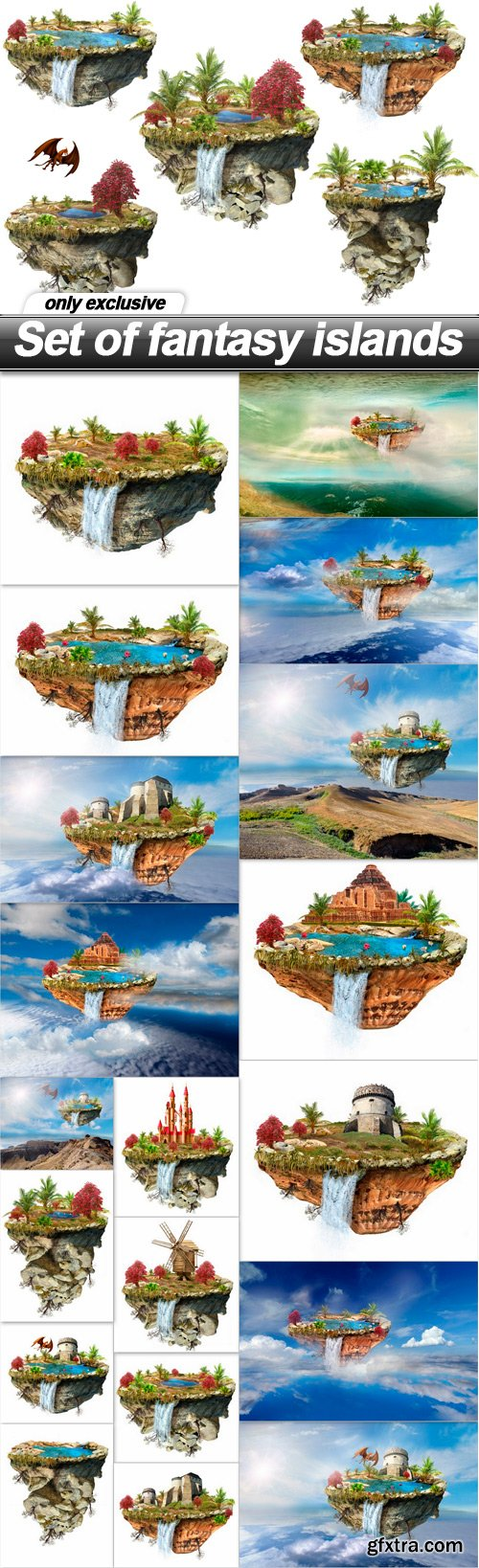 Set of fantasy islands - 20 UHQ JPEG