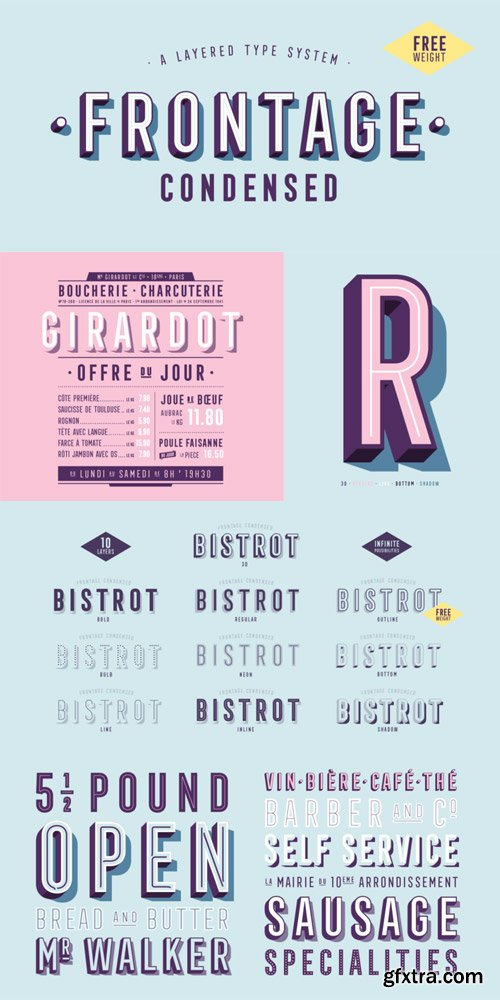 Frontage Condensed Font Family $55