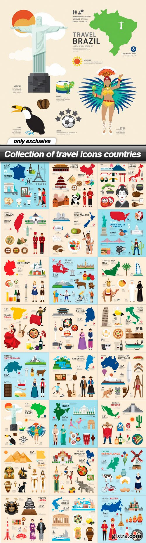 Collection of travel icons countries - 24 EPS
