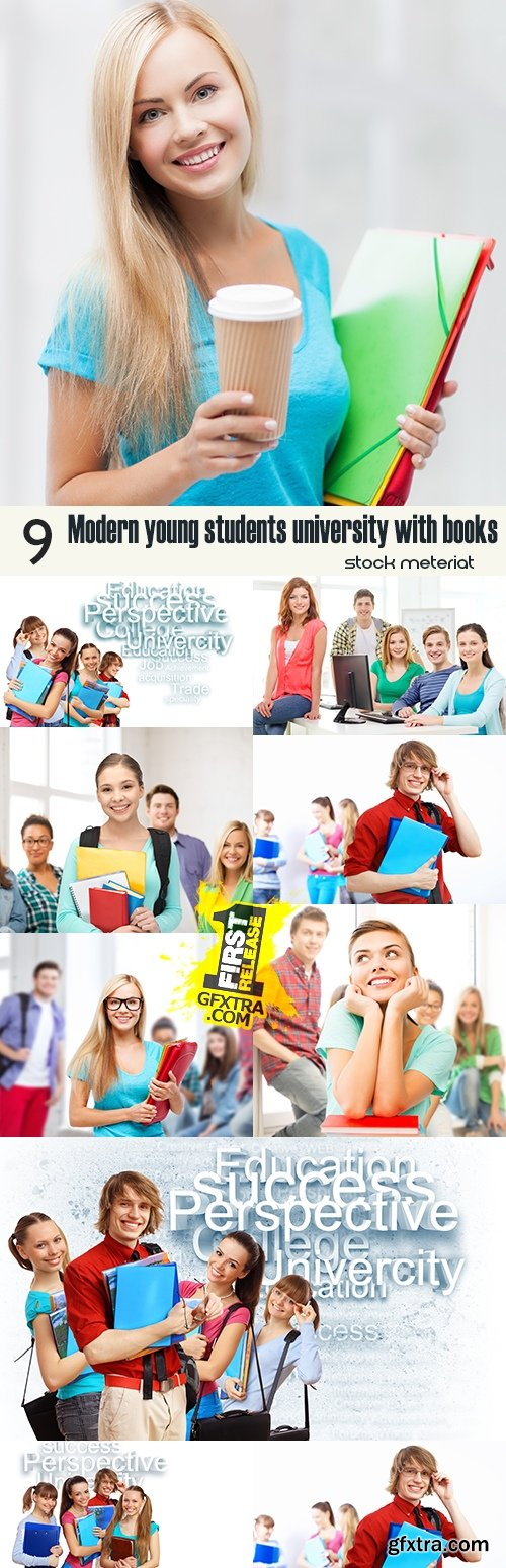 Modern young students university with books