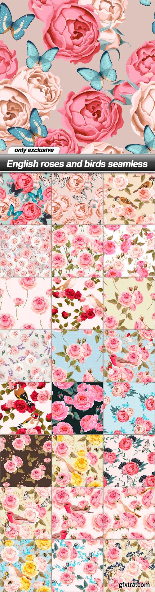 English roses and birds seamless - 25 EPS