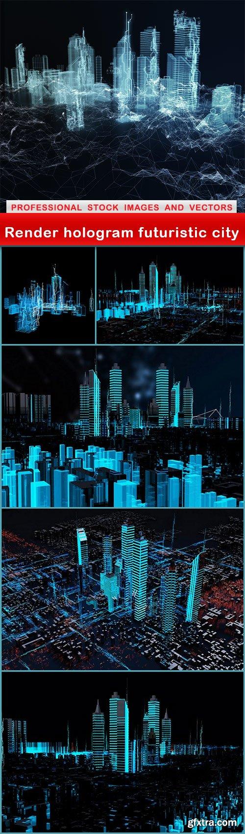 Render hologram futuristic city - 6 UHQ JPEG