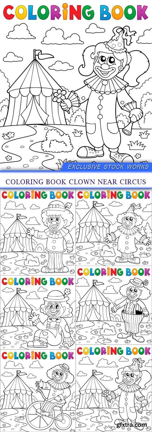 Coloring book clown near circus 6X EPS