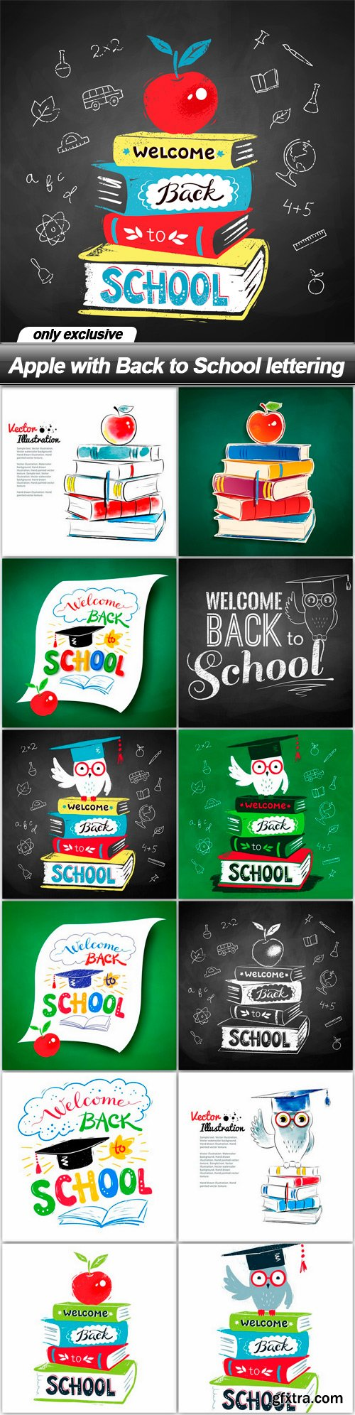 Apple with Back to School lettering - 13 EPS