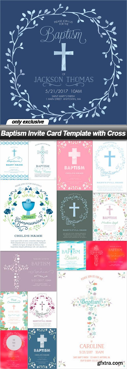 Baptism Invite Card Template with Cross - 16 EPS