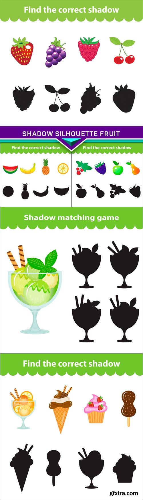 Children's educational game, shadow silhouette fruit 5X EPS