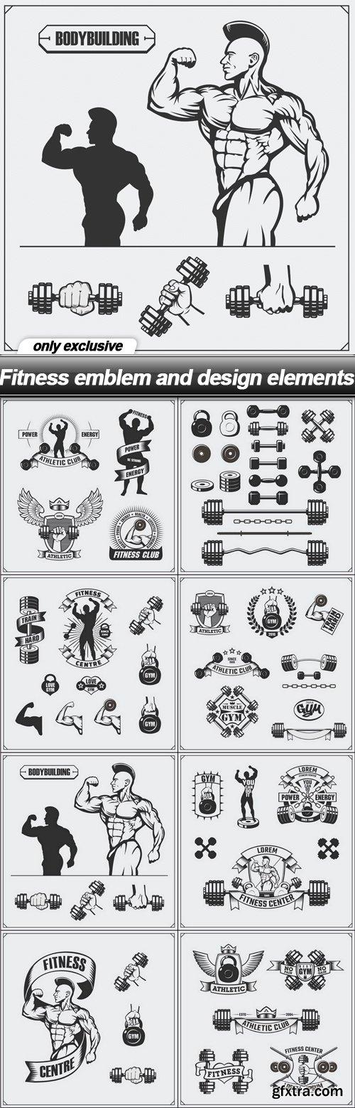 Fitness emblem and design elements - 8 EPS