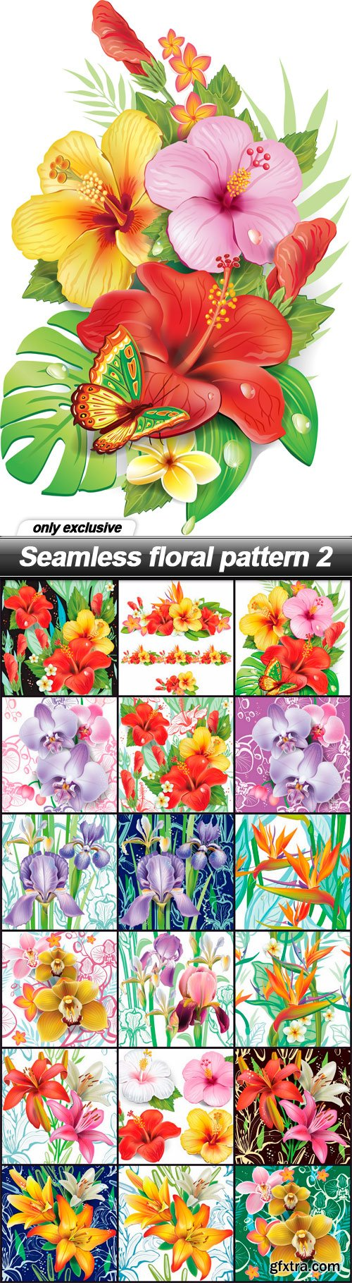 Seamless floral pattern 2 - 18 EPS