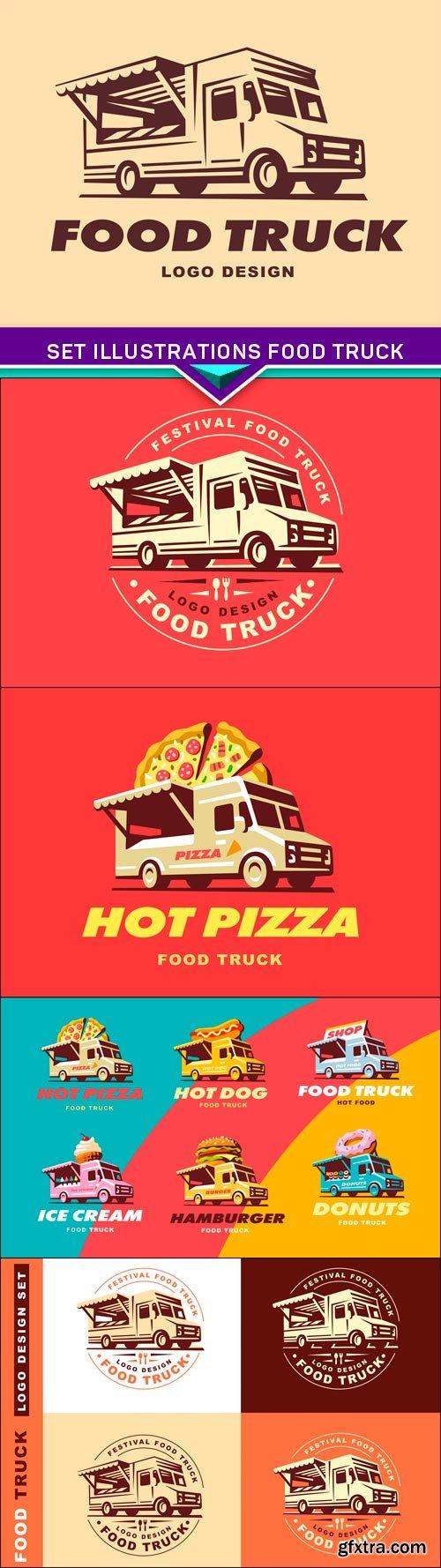 Set illustrations food truck 5X EPS