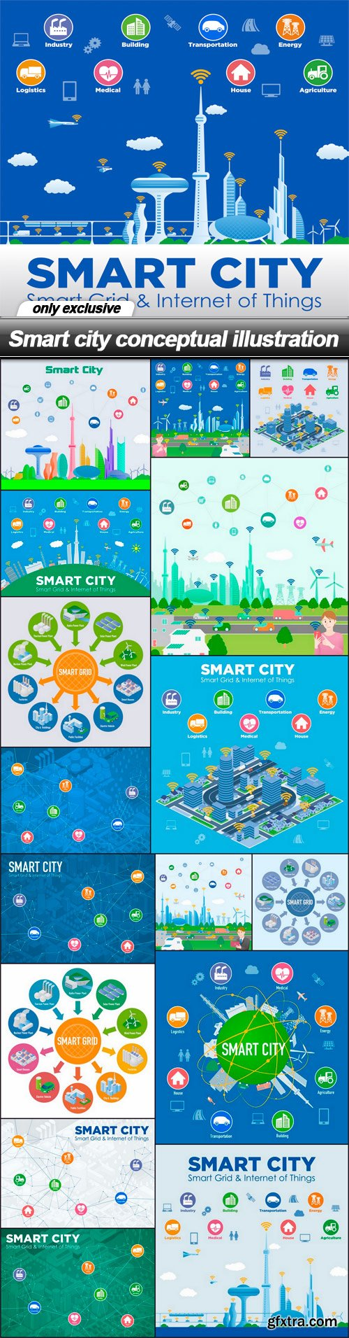 Smart city conceptual illustration - 17 EPS