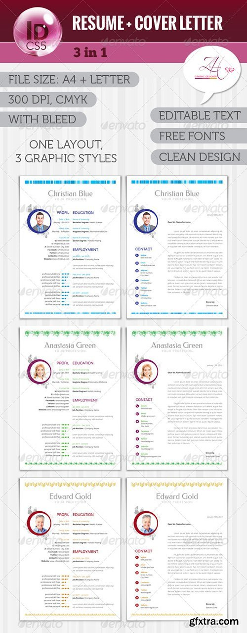 GraphicRiver Resume + Cover Letter (3 in 1) 5773507
