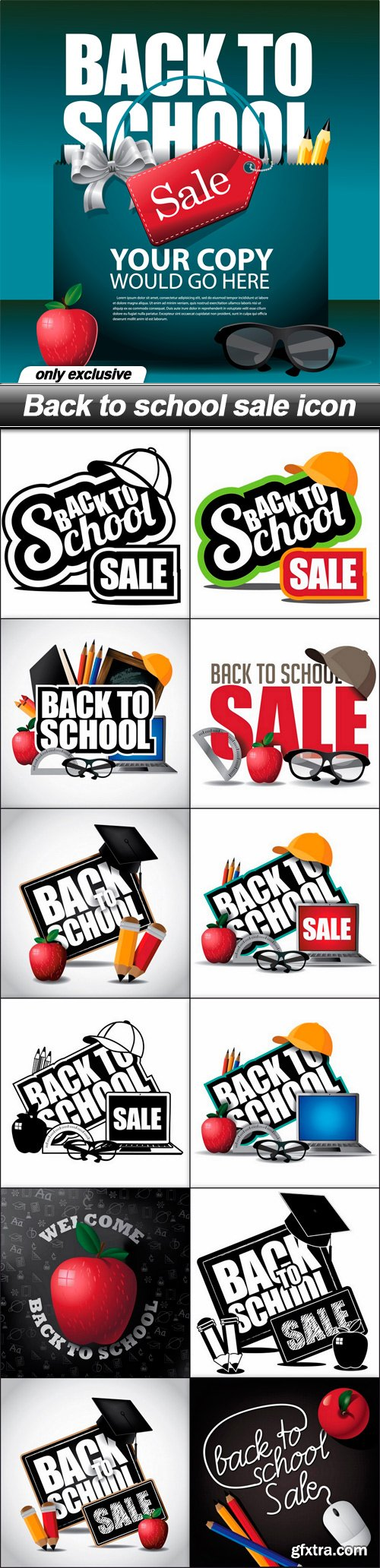Back to school sale icon - 13 EPS