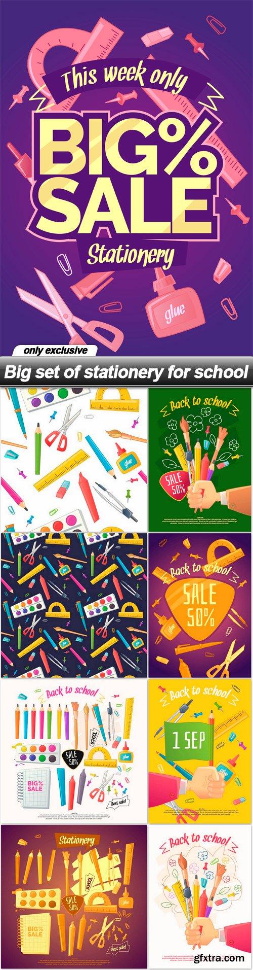 Big set of stationery for school - 9 EPS