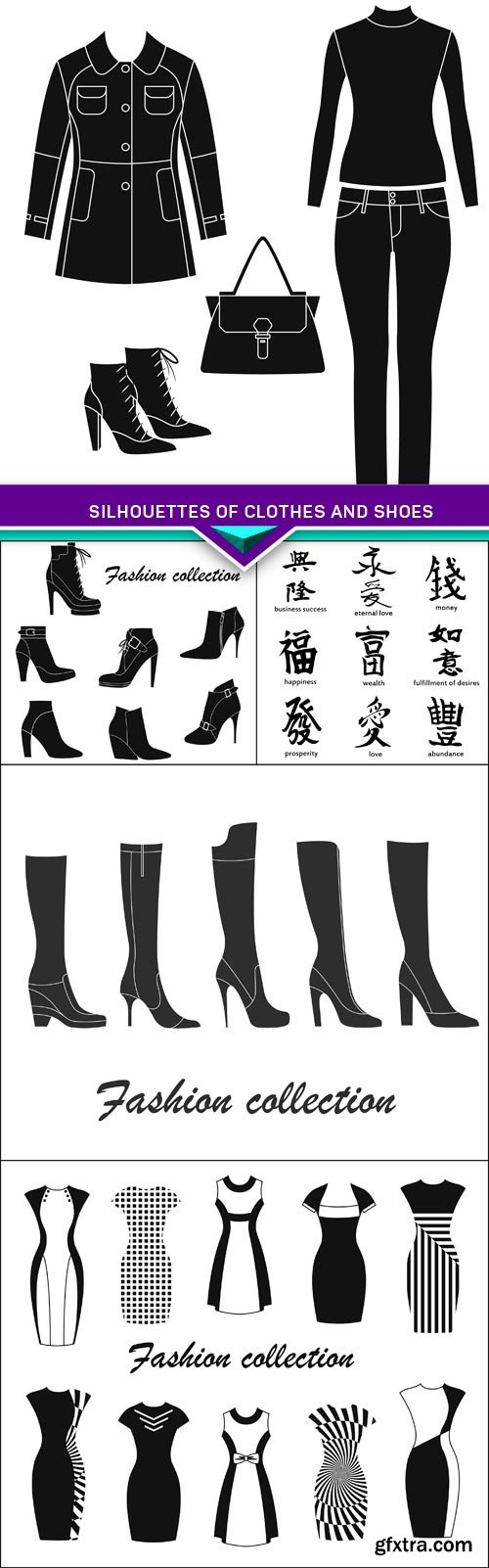 Silhouettes of clothes and shoes 5X EPS
