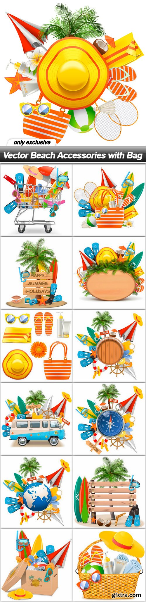 Vector Beach Accessories with Bag - 13 EPS