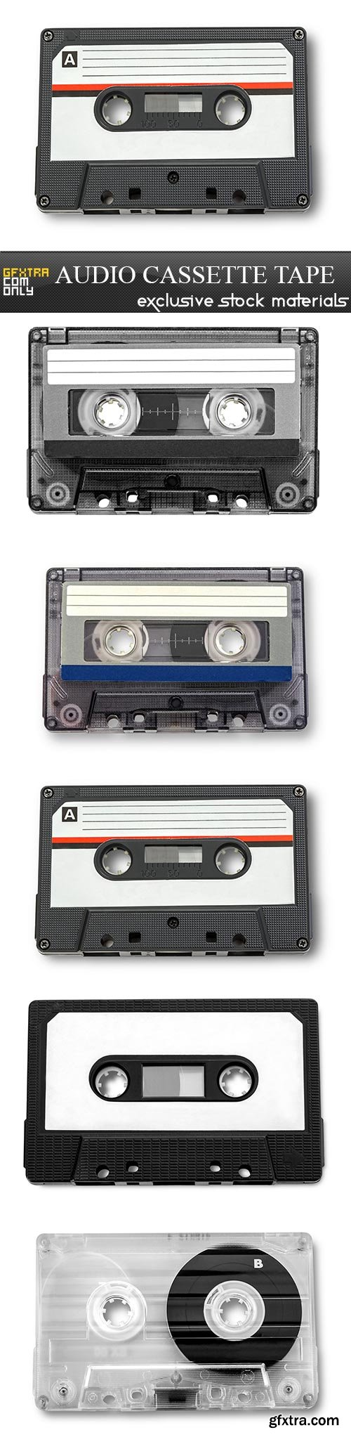 Audio cassette tape, 5 x UHQ JPEG