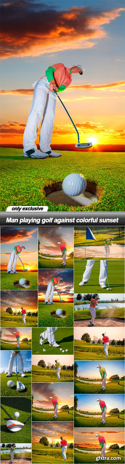 Man playing golf against colorful sunset - 19 UHQ JPEG