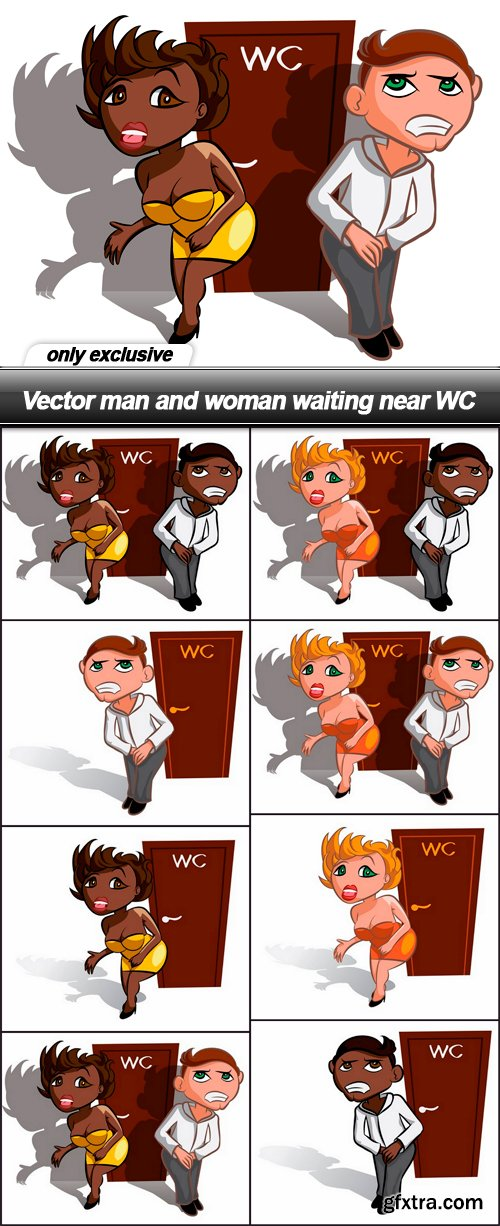 Vector man and woman waiting near WC - 8 EPS