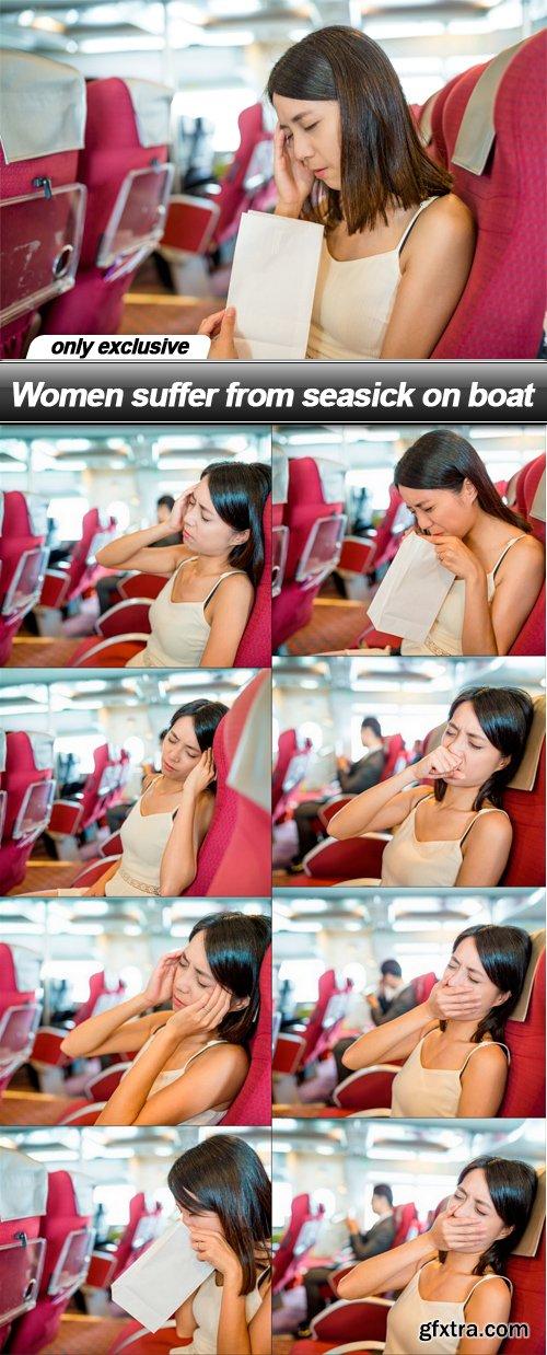 Women suffer from seasick on boat - 9 UHQ JPEG