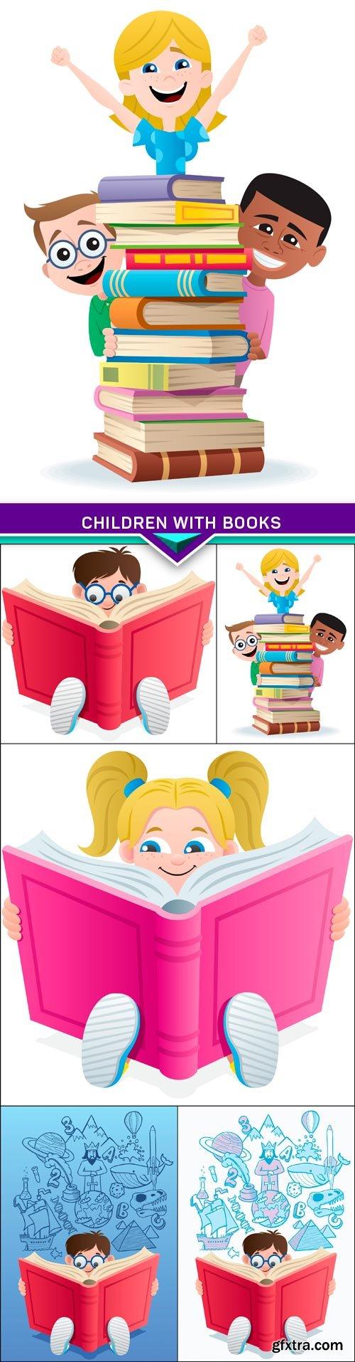 Children with books 5X EPS