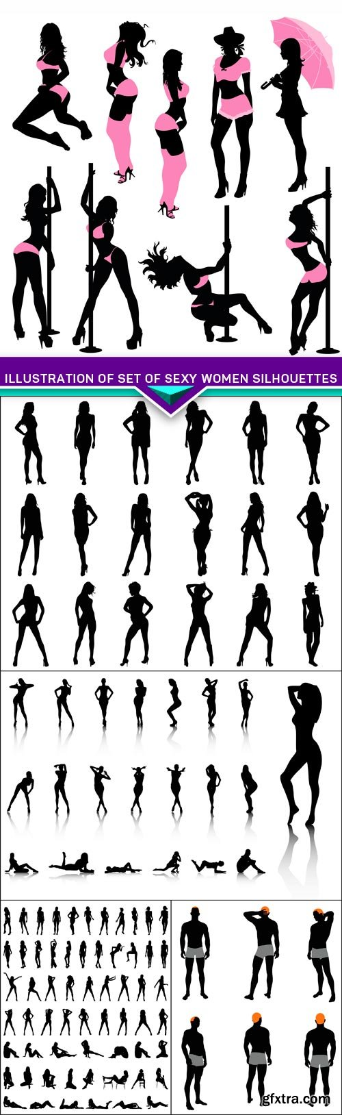 Illustration of Set of sexy women silhouettes 5X EPS