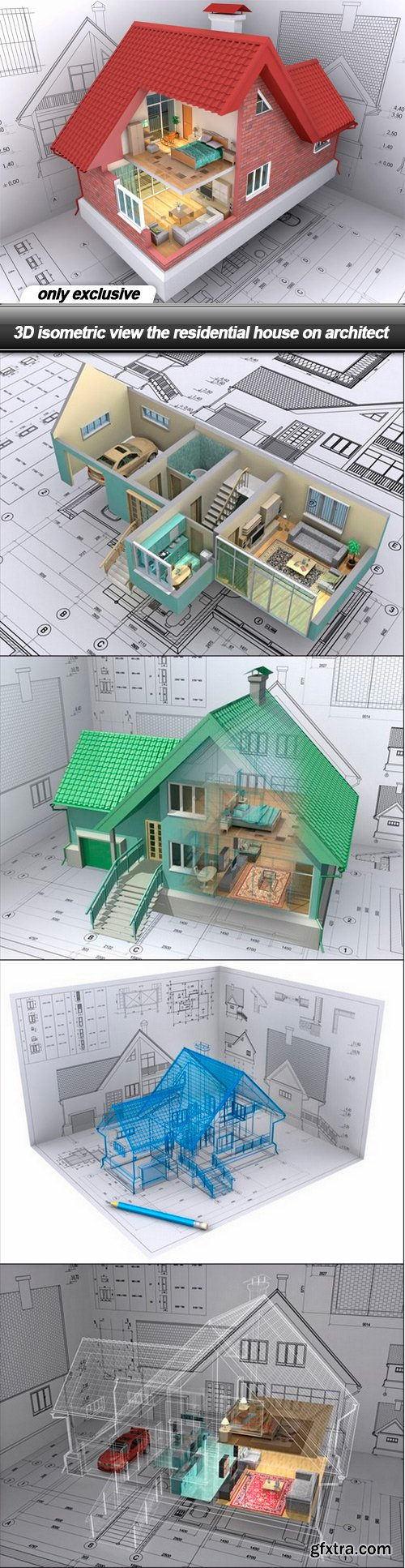 3D isometric view the residential house on architect - 5 UHQ JPEG