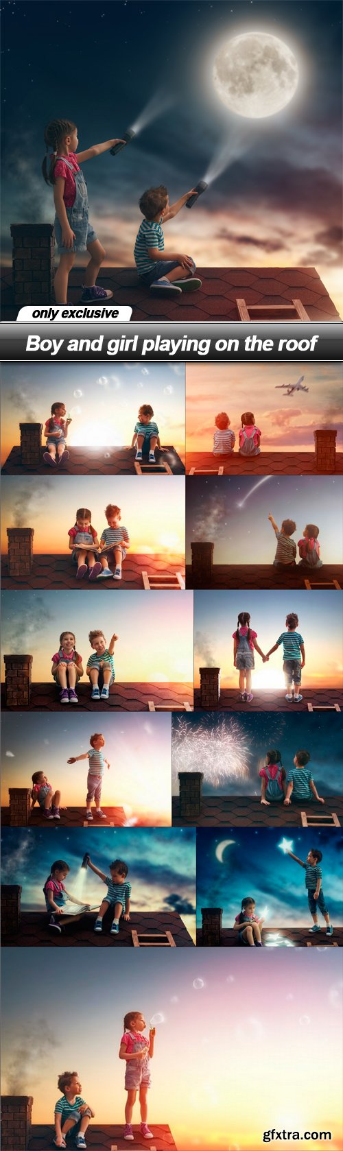 Boy and girl playing on the roof - 12 UHQ JPEG