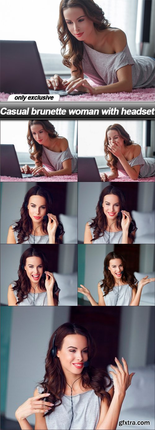 Casual brunette woman with headset - 7 UHQ JPEG