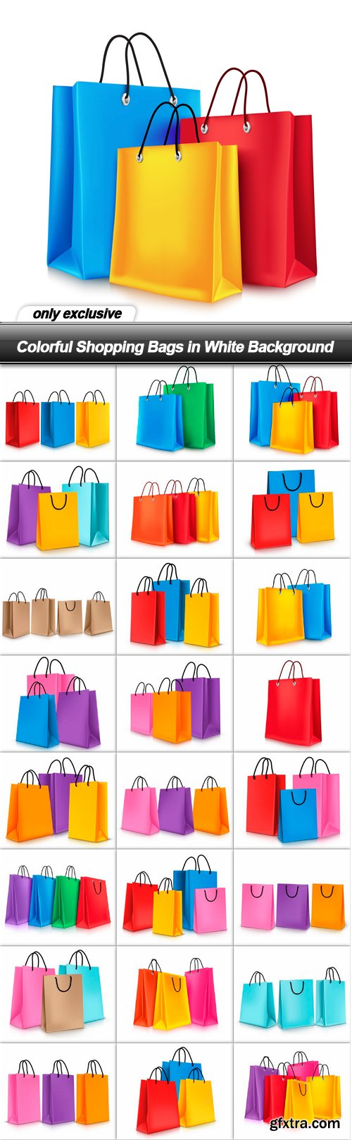 Colorful Shopping Bags in White Background - 24 EPS