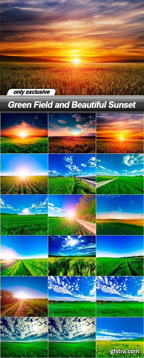 Green Field and Beautiful Sunset - 18 UHQ JPEG