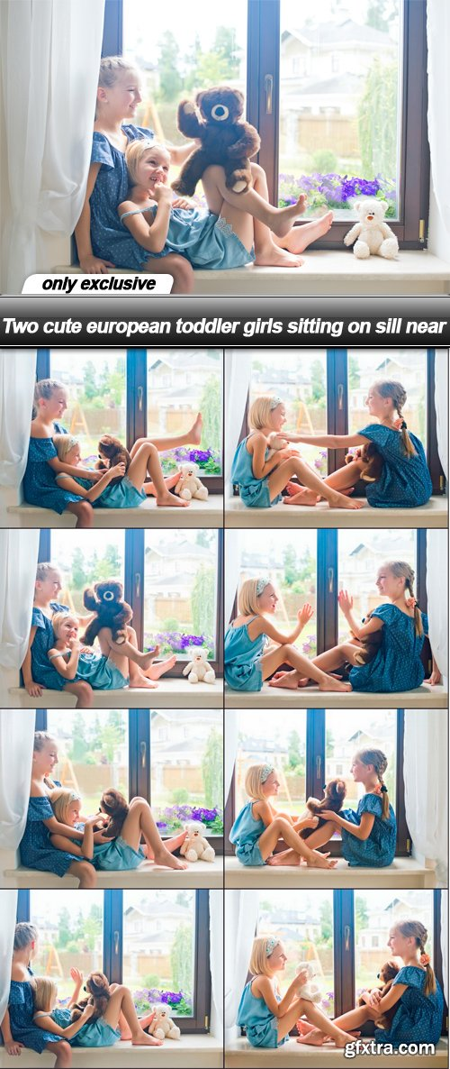 Two cute european toddler girls sitting on sill near - 8 UHQ JPEG
