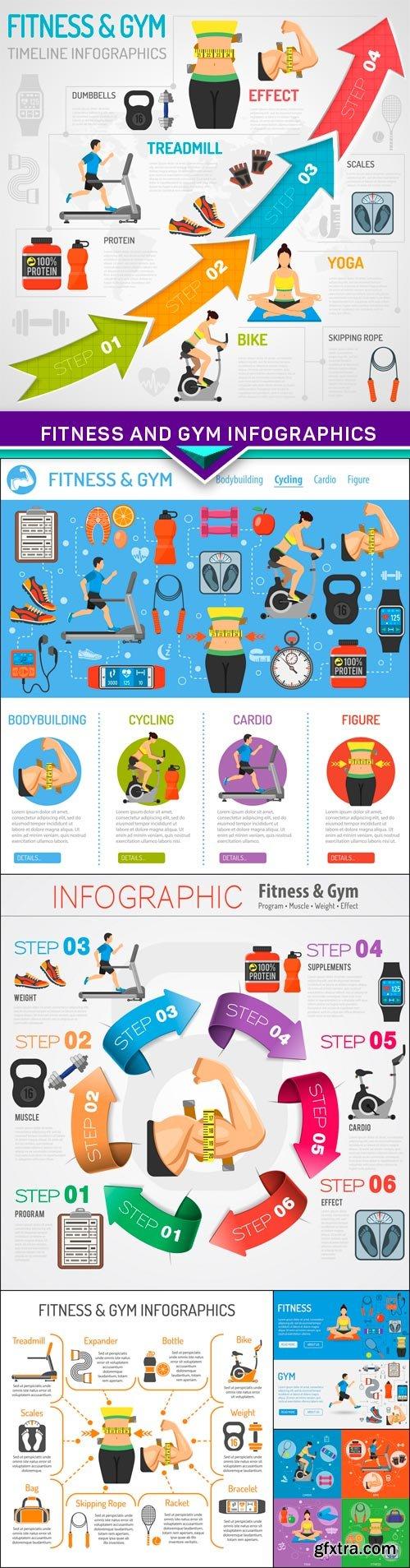 Fitness and Gym Infographics 6X EPS