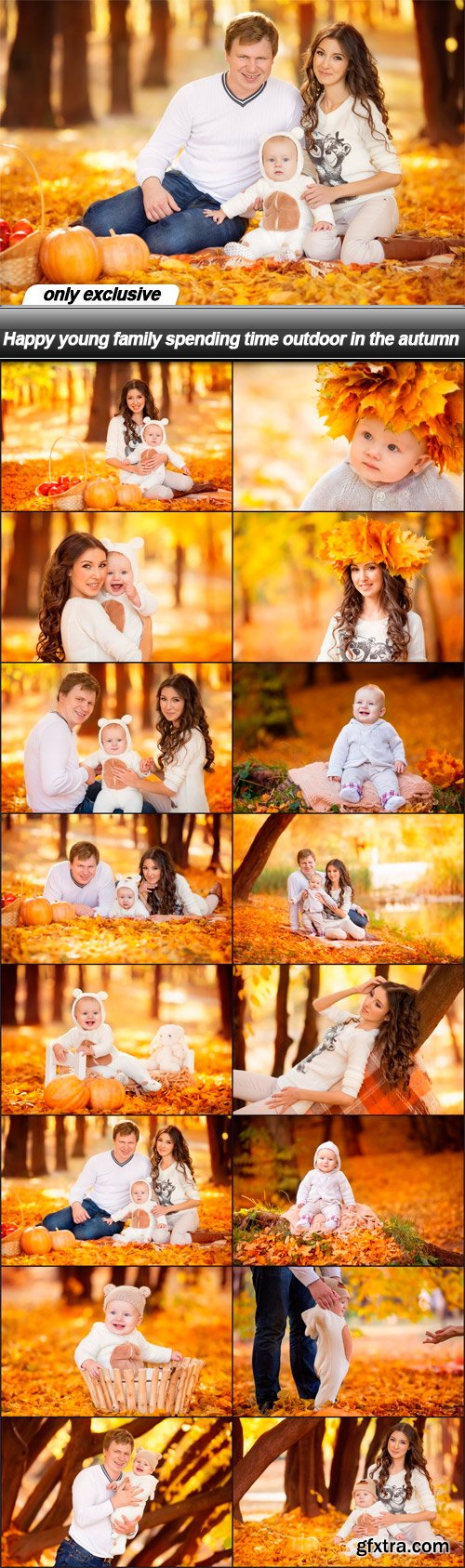 Happy young family spending time outdoor in the autumn - 16 UHQ JPEG