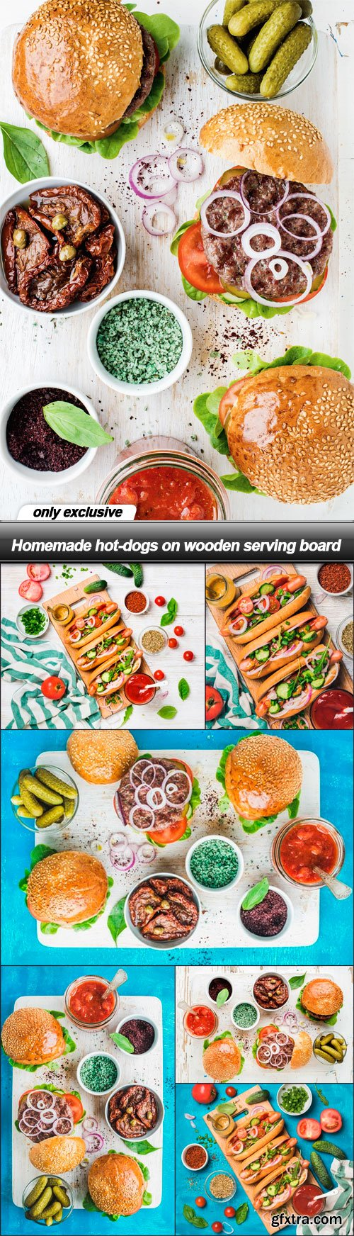 Homemade hot-dogs on wooden serving board - 7 UHQ JPEG