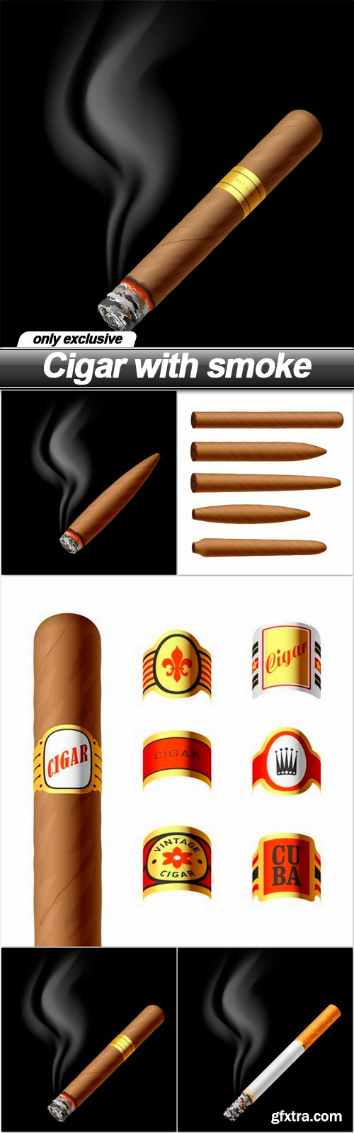 Cigar with smoke - 5 EPS