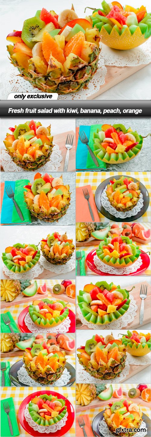 Fresh fruit salad with kiwi, banana, peach, orange - 12 UHQ JPEG