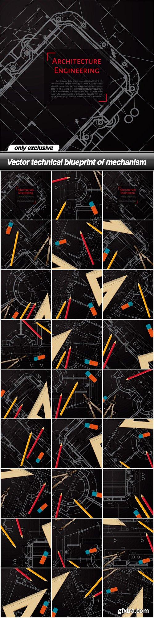 Vector technical blueprint of mechanism - 27 EPS