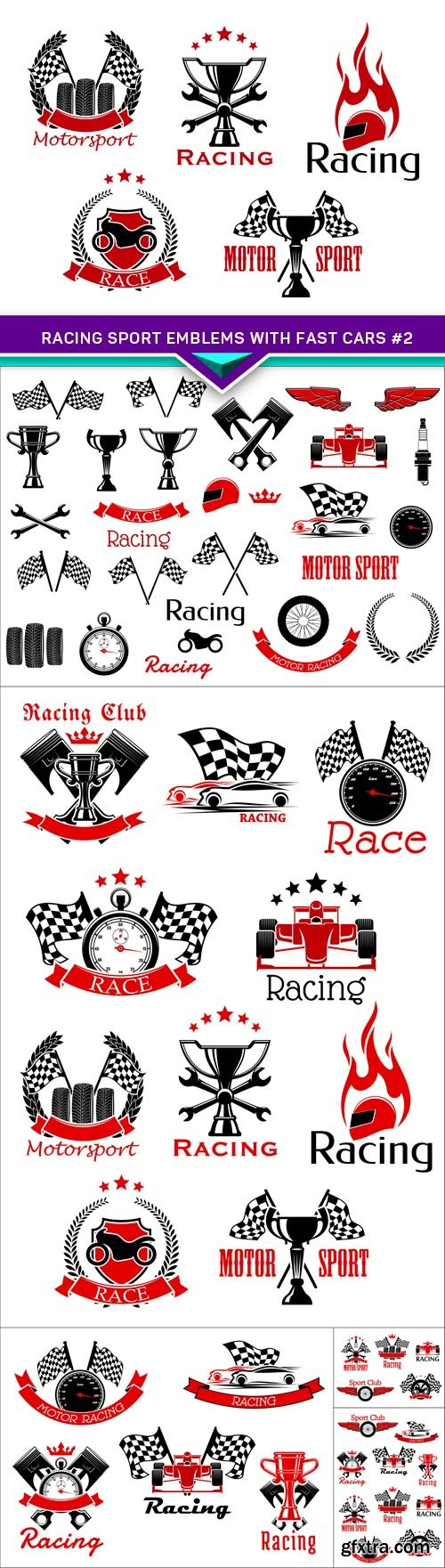 Racing sport emblems with fast cars #2 6X EPS