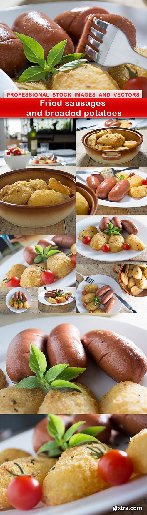 Fried sausages and breaded potatoes - 11 UHQ JPEG
