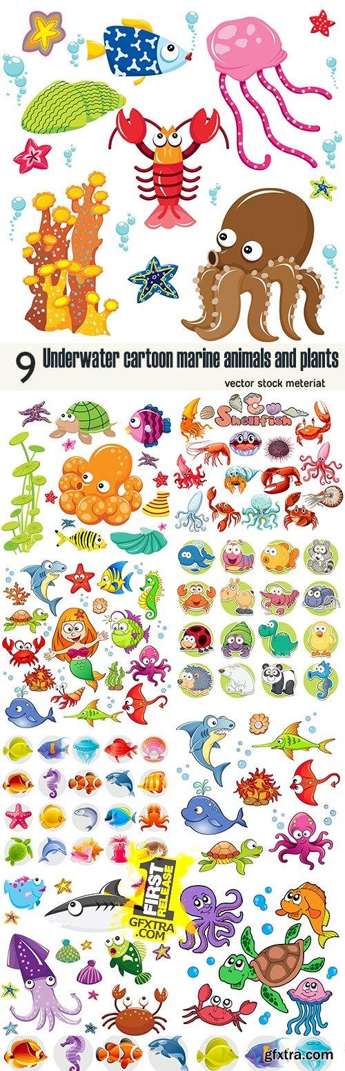 Underwater cartoon marine animals and plants