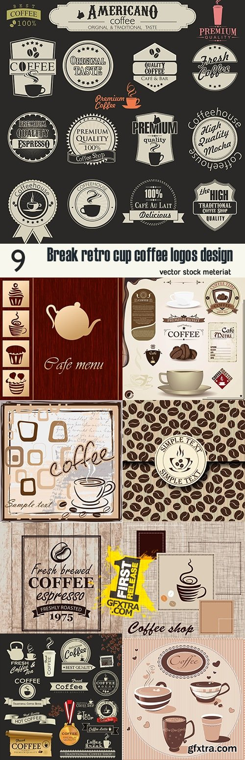 Break retro cup coffee logos design