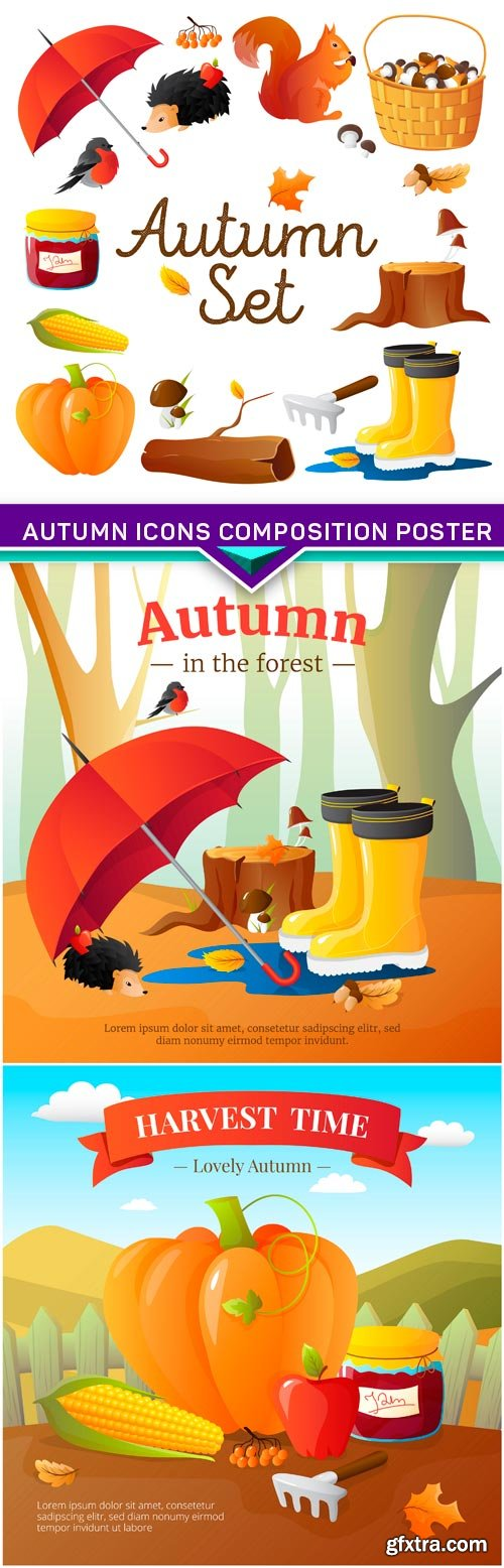 Autumn Icons Composition Poster 3X EPS