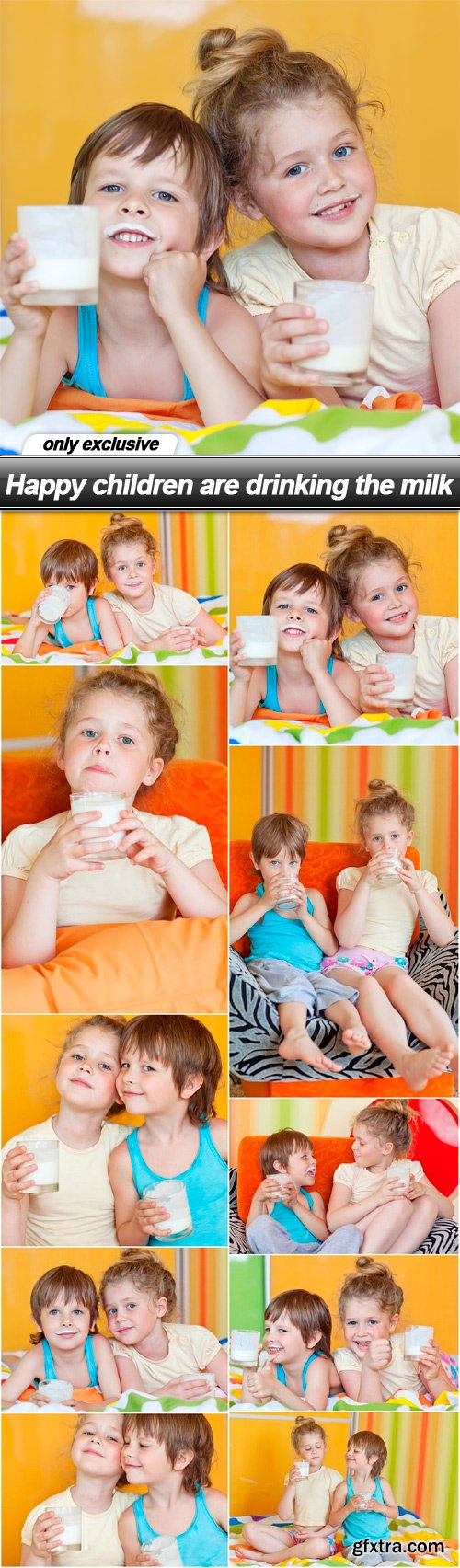 Happy children are drinking the milk - 10 UHQ JPEG
