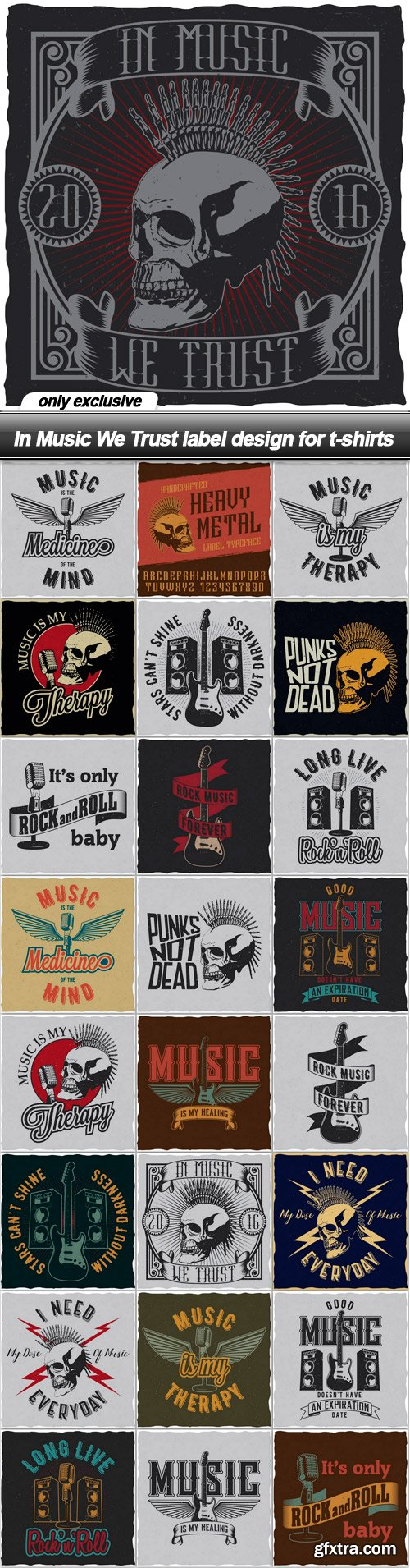 In Music We Trust label design for t-shirts - 25 EPS