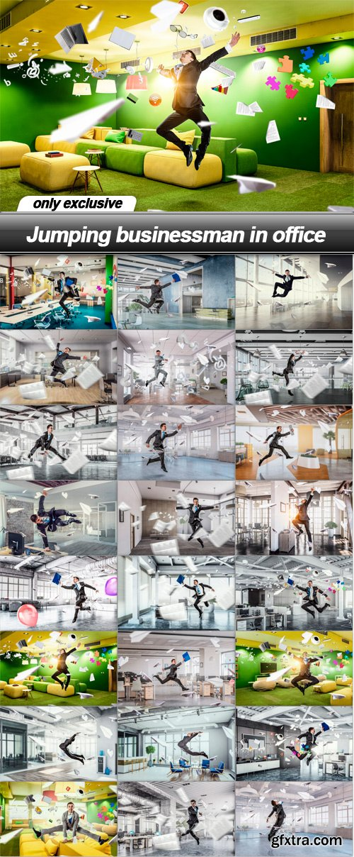 Jumping businessman in office - 24 UHQ JPEG