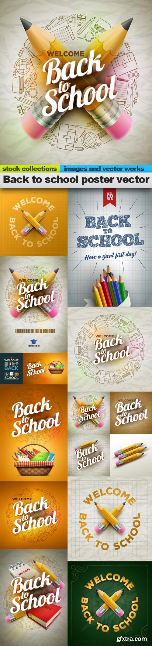 Back to school poster vector, 15 x EPS