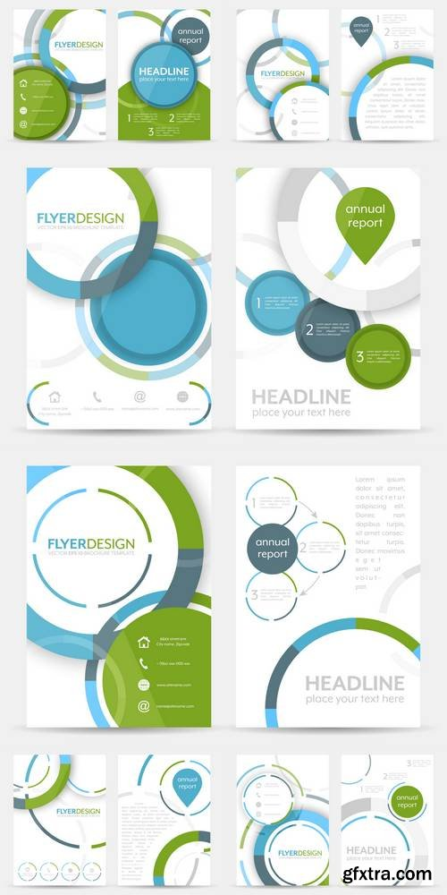 Business Flyer Template, Brochure or Corporate Banner with Circular Pattern