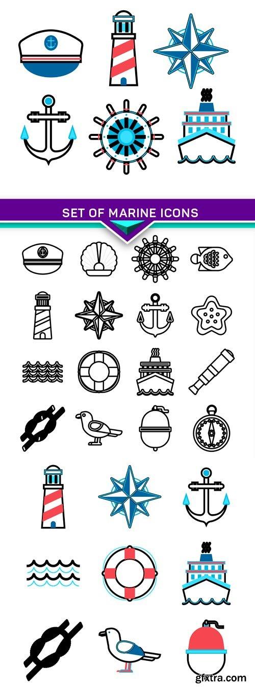 Set of marine icons 3X EPS