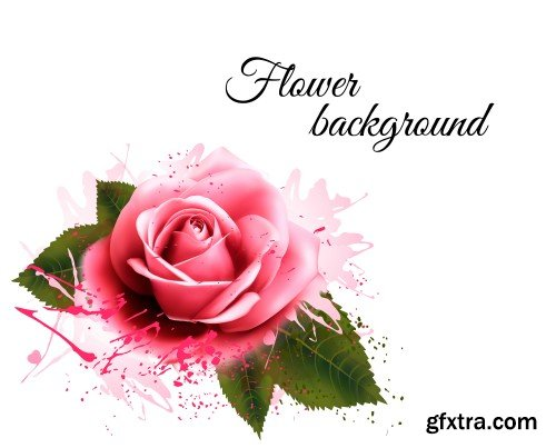 Natural background with roses, vintage vector