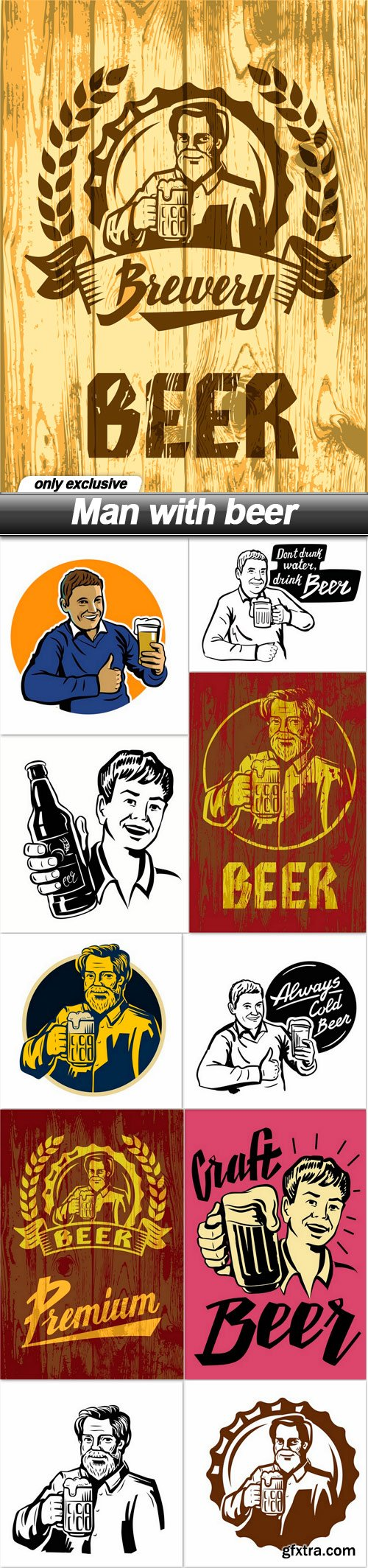 Man with beer - 11 EPS